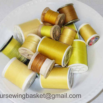 Lemon Yellow Thread Collection, Vintage Wooden Thread Spools, Lot of Spools, Thread Spools, Embroidery Thread