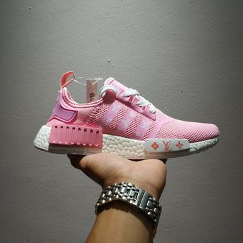 Best Online LV x Adidas NMD R1 Pink Sport Running Shoes Classic Casual Shoes Sneakers