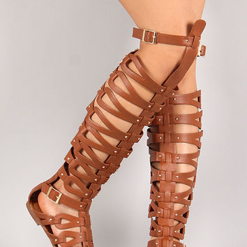 Breckelle Solo-11 Over-the-Knee Gladiator Flat Sandal