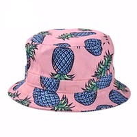 Pineapple Printed Bucket Hats New Fashion Lovely Summer Casual Cotton Fishing Hats