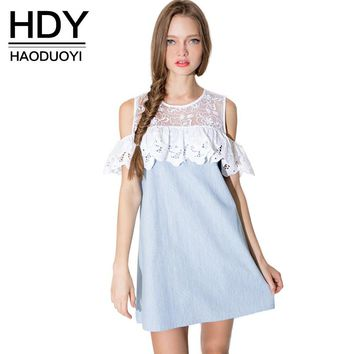 HDY Haoduoyi 2017 Fashion Women Ruffles Lace Insert Contrast Shift Dress Cold Shoulder A-line Mini Dress Female Vestidos