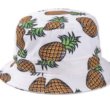 Promotions reversible boonie beach fisherman sun protection casual travel white navy pink pineapple bucket hat cap women men