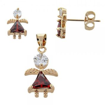 Gold Layered Earring and Pendant Children Set, Little Girl and Angel Design, with Cubic Zirconia, Golden Tone