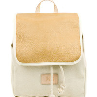 Camel Globe Leather Backpack, Canvas and Artisan Dyed Leather Backpack, Mediterranean Inspired, Women's Backpack