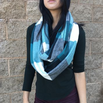 Handmade Reiki Infused Teal & Charcoal Gray Plaid Mix Infinity Scarf