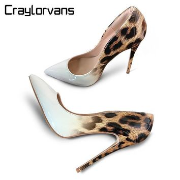 Women Luxurious Ombre Leopard Design Stilettos Heels