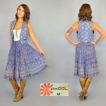 vtg 70's floral 2-PC INDIAN GAUZE ethnic festival boho hippie skirt + vest matching set, small-medium