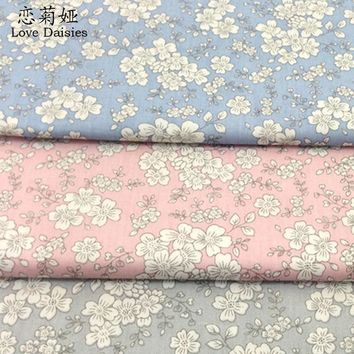 100% cotton Japanese style white floral twill cloth DIY for kids bedding clothes dress handwork patchwork craft quilting fabrics