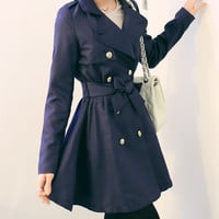 Navy ribbon long trench coat, women blazer, outwear , long jacket,