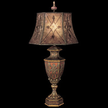 Fine Art Lamps 167110ST Villa 1919 One-Light Table Lamp in Rich Umber Finish and Gilded Accents with Hand Painted Mica Shade