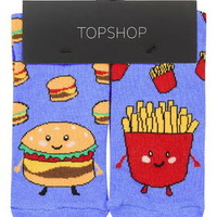 Burger and Fries Socks - Blue