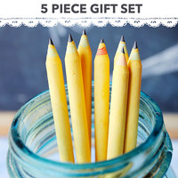 Yellow Eco Friendly Recycled Pencil Set - Great for: coworkers & teacher gifts, eco wedding favors, party favors, back to school (5 piece)