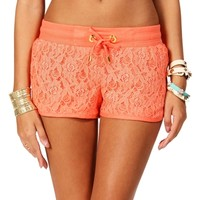 Coral Lace Drawstring Shorts