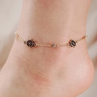 Boat Wheel Crystal Stone Chain Link Anklet