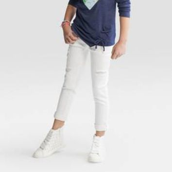 Girls' Denim Stripe Super Skinny Cropped Jeans - Cat & Jack™ Indigo