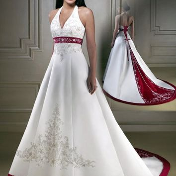 Trajes de novia New arrival halter satin embroidery Wedding gown 2017 Bridal Gown red and white wedding dresses