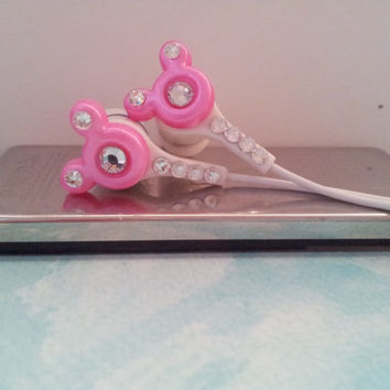 Pink Mouse Ear earbuds with Swarovski crystals