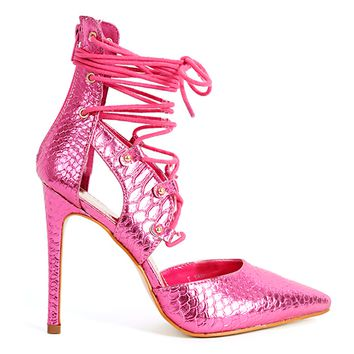 PROVOCATEUR METALLIC LACE UP PUMP - PINK METALLIC