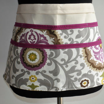 Utility Apron, Teacher apron, Vendor apron, Craft fair apron, Purple and gray floral apron, Women's Vendor Apron, Preschool teacher apron