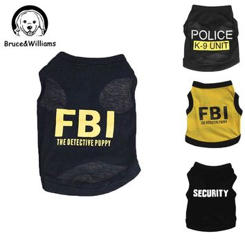 Bruce&Williams 3Colors FBI Police Love Mommy Daddy Dogs Cat Vest Design T-shirt Dog Clothes Summer Clothes Puppy Costumes DC085