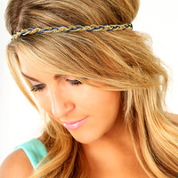 Round The Twist Headband: Gold/Navy