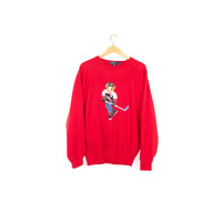 RALPH LAUREN polo bear sweater - vintage 90s - 1990s hockey polo bear sweatshirt - medium
