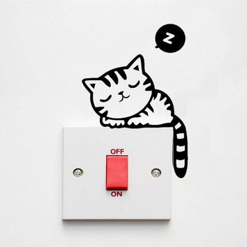 Cute Black Cat Removable Art Vinyl Switch Sticker Home Wall Window Decor