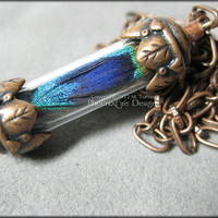Peacock Feather In Steampunk Copper Vial Glass Tube Decorative Leaf Victorian Style Bronze