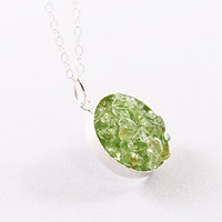 Sterling silver necklace green jewelry peridot olivine