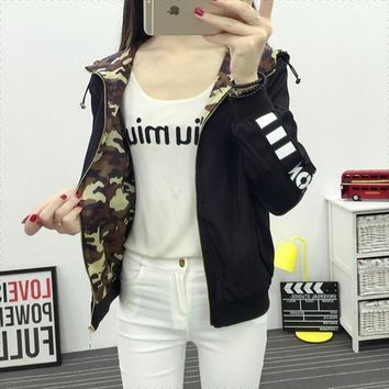 Trendy Bomber reversed Jacket camouflage Hooded baseball uniform Letters Print Zipper Coat double-sided wearable Cardigan Hoodies Tops AT_94_13