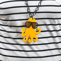Canary Yellow Octopus Necklace,Plexiglass Octopus With 80s Slot Glasses,Lasercut Acrylic,Gifts Under | Luulla