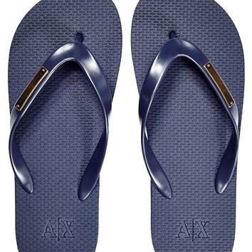 Metal Plate Flip Flop - Accessories - Mens - Armani Exchange