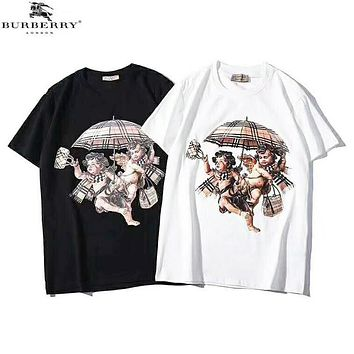 Burberry New fashion bust people umbrella print couple top t-shirt