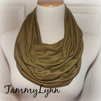 Ready to Ship!! Olive Brown Solid Infinity Scarf Jersey Knit Stripe Double Loop Soft Scarf Womens Tammy Lynns Creations