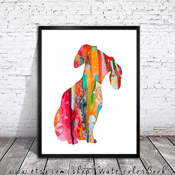 Dachshund 2 dog Watercolor Print, Archival Fine Art Print, Children's Wall, Art Home Decor, dog watercolor, watercolor painting, animal art