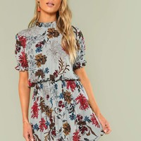 Ruffle Cuff Mock Neck Floral Dress