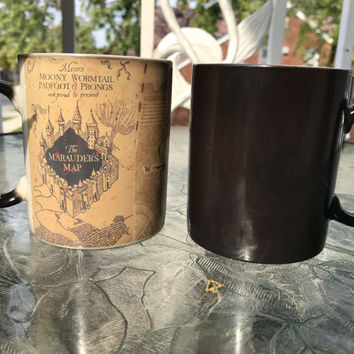 SALE! Harry Potter Mug, Color Changing mug, Marauders map mug, Harry Potter Coffee Cup Magic Mug