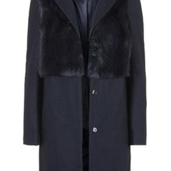 Wool Blend Faux Fur Hybrid Coat - Navy Blue