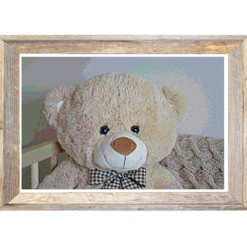 Teddy Bear Cross Stitch Pattern Neutral