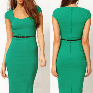 Green Short Sleeve Back Zipper Bodycon Midi Pencil Dress with Belt