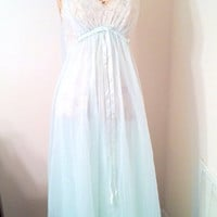Vintage 60s Vanity Fair Pale Blue Flowing Babydoll Gown