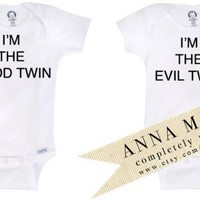 Onesuit / Toddler Tshirts Good Twin Evil Twin by annanewell