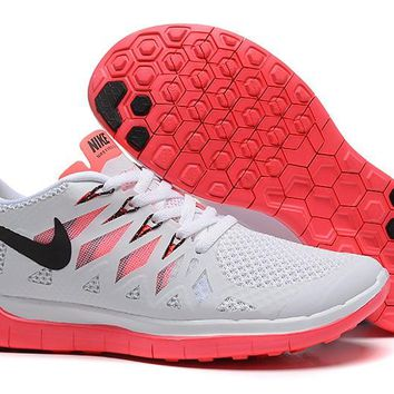 Women's White/Crimson Nike Free 5.0 Shoes