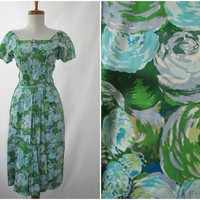 1950s Green & Blue Floral Print Dress by mandylopandy on Etsy