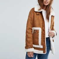 Vero Moda Faux Shearling Contrast Jacket at asos.com