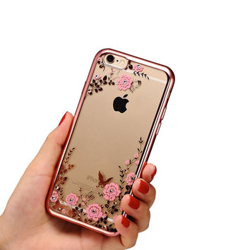 Luxury Secret Garden Flowers Rhinestone Phone Cases For iPhone 7 6 6S Plus 5 5S SE 4 4S Rose Gold Plating TPU Back Case Cover