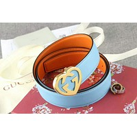 GUCCI 2018 men and women models tide brand high quality heart-shaped double G belt F-APDPF sky blue