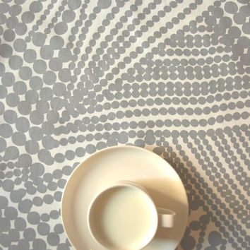 Tablecloth white with gray abstract circles , also napkins , curtains , pillows available, great GIFT