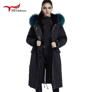 Newest Jacket Women's Winter Coat Fox Fur Lined Detachable Denim Jacket Fox Hooded Coats X-Long Section Jackets Outerwear A#22