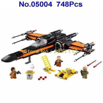 05004 748pcs Star Wars First Order Poe\'s X-wing Fighter Lepin Building Block Compatible 75102 Brick Toy